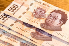 Five hundred mexican pesos bills photograph. Photograph of some five hundred mexican pesos bills royalty free stock photography