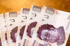 Five hundred mexican pesos bills photograph. Photograph of some five hundred mexican pesos bills Stock Photo