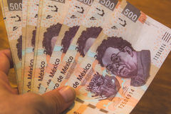 Five hundred mexican pesos bills photograph. Photograph of some five hundred mexican pesos bills Stock Image