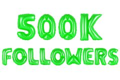 Five hundred thousand followers, green color Stock Photography