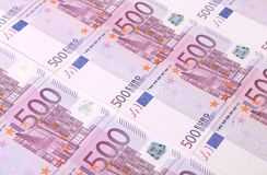 Five hundreds euro banknotes background. Stock Image