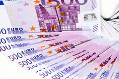 Five hundreds of euros. On white Royalty Free Stock Photography