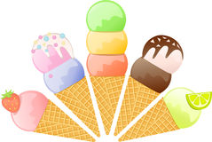 Ice-cream cones. Five ice-cream cones with different flavors Royalty Free Stock Photo