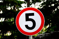 Five icon board. Five km limited icon board Stock Image