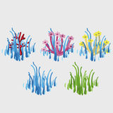 Five icons with blue and green grass. And flowers Stock Photos