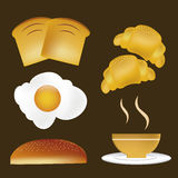 Five icons for breakfast Stock Photography