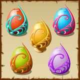 Five icons colorful eggs in the frame Stock Photo