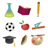 Five icons for school Royalty Free Stock Image