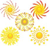 Five icons of sun. Stock Photography