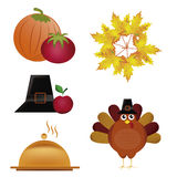Five icons for thanksgiving day Royalty Free Stock Image