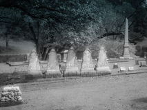 Five Identical Headstones Kentucky Cemetery. Cave Hill Cemetery with five identical headstones stock images