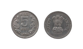 Five Indian Rupee coin Stock Photo