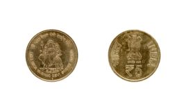 Five Indian Rupee coin Royalty Free Stock Images