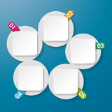Five Info Labels With Numbers Circle Rectangle Blu Stock Images