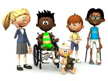 Five injured cartoon kids. Stock Photo
