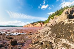 Low Tide in the Bay of Fundy reveals ocean floor. Five Islands Provincial Park: View of the Bay of Fundy at low tide Stock Photography