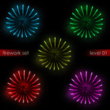 Five isolated colorful explosions splash firework set. Illustration Stock Image