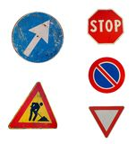 Five italian roadsigns. Isolated on white stock image