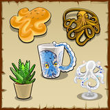 Five items with the image or form of an octopus. Set of five items with the image or form of an octopus Royalty Free Stock Image