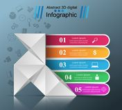 Five items - origami style infographic. Stock Photo
