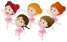 Five kids dancing ballet stock illustration