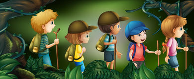 Five kids hiking in the woods. Illustration Royalty Free Stock Photo