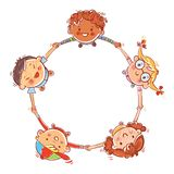 Five kids joining hands to form a circle royalty free stock photography