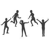 Five kids silhouettes Stock Images