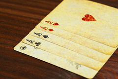 Five of a kind aces poker combination Stock Photos