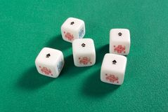 Five of a Kind on Poker Dice Royalty Free Stock Photography