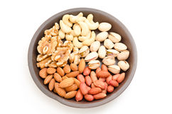Five kinds of nuts Royalty Free Stock Photo
