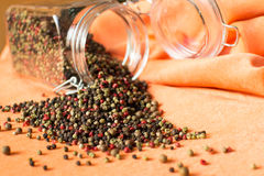 Five kinds of peppercorns Royalty Free Stock Photo