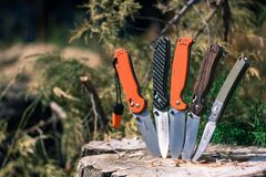 Five knives for camping and use out of doors Stock Photo