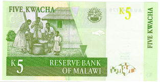 Five Kwacha banknote. Details of a 5 Kwacha banknote from the African Republic of Malawi Stock Image
