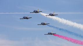 Five of L-39 Albatross. Russian aerobatic team Russ. Stock Photos
