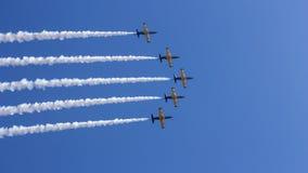 Five of L-39 Albatross shows aerobatic stunts. Russian aerobatic team Russ. royalty free stock image