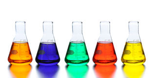Five Laboratory Beakers Royalty Free Stock Images