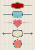 Laced badges. Five laced retro badges, layered vector Stock Photo