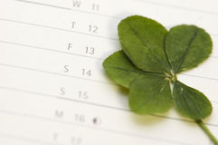 Five Leaf Clover and 13 Friday royalty free stock image