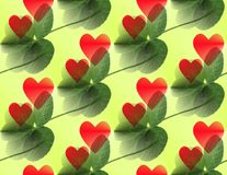 Five-leaf clover green with red hearts overlaying and diagonally. Five-leaf clover green with red hearts in differenz sizes overlaying and diagonally vector illustration
