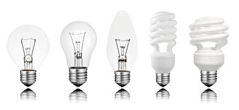 Five Lightbuls with Reflection Isolated on White Royalty Free Stock Photos