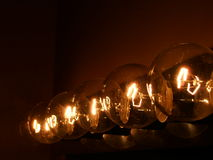 Five Lights. Light display with transparent bulbs stock image