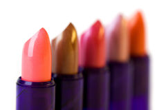 Five lipsticks. A photo of five varicolored lipsticks Stock Images