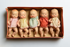 Five little dolls in a box, retro toys Stock Image