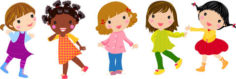 Five little girls Royalty Free Stock Images