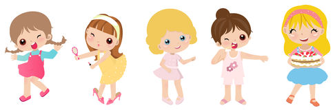 Five little girls royalty free illustration
