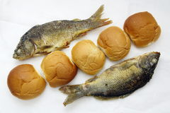 Five loaves, and the two fishes Royalty Free Stock Photos