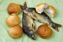 Five loaves, and the two fishes. The five loaves, and the two fishes stock image