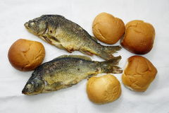 Five loaves, and the two fishes. The five loaves, and the two fishes royalty free stock photography