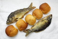Five loaves, and the two fishes. The five loaves, and the two fishes stock images